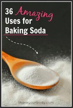 36 amazing uses for baking soda! So good to know! www.thankyourbody.com