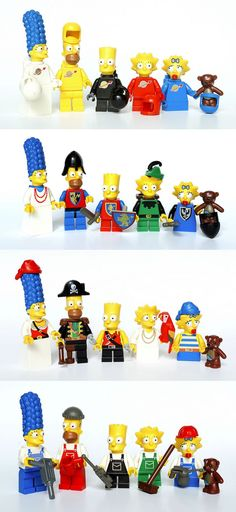The Space Simpsons family, The Castle Simpsons family, The Pirate Simpsons family, The City Simpsons family