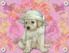 Sweet little puppy THANK YOU card / notecard by GoldiesGraphix on Etsy, $3.00