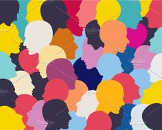 People profile heads. Graphics People profile heads. Vector background pattern. by VectorAN