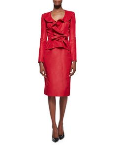 Bow-Front Cocktail Blazer & Midi-Length Pencil Skirt by Oscar de la Renta at Neiman Marcus.