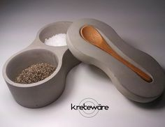 Concrete salt and pepper tabletop serving set with 1 piece lid and spoon rest with small bamboo spoon set - Kreteware Concrete