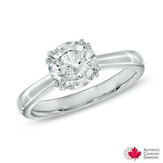Certified Canadian Diamond Solitaire Engagement Ring in 18K White Gold (I/SI2)
