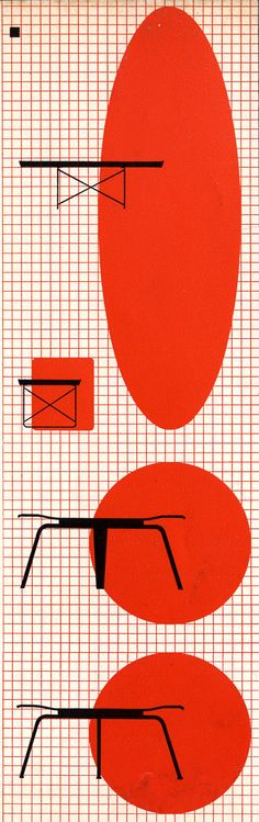 Drawings of Eames tables from a 1950 Herman Miller Collection catalog