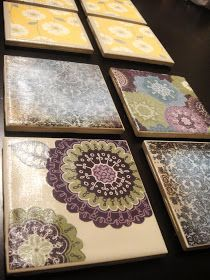 Coasters, scrapbook paper, tile, trace shape on paper, modgepodge on tile, stick on, top with several layers modgepodge, felt circles on bottom.