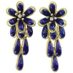Preowned Mid Century Italian Blue Enamel Diamond Gold Drop Flower... (180.385 RUB) ❤ liked on Polyvore featuring jewelry, earrings, blue, 18 karat gold earrings, blue diamond earrings, yellow gold earrings, 18k earrings and diamond flower earrings