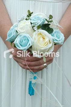 Luxury Baby Blue  Ivory Bridesmaids Crystal Wedding Bouquet Luxury Baby Blue  Ivory Bridesmaids Crystal Wedding Bouquet [Kimm - Bridesmaid] - £34.99 : Silk Blooms UK