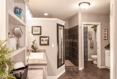 Can't forget the mirror! I like how it's place on the wall of the walk in shower - Walk In Shower Design Ideas, Pictures, Remodel, and Decor - page 9