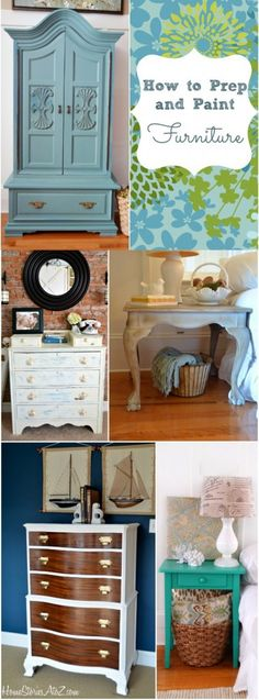 How to prep and paint furniture tutorial. Great tip on mixing milk paint with no lumps.