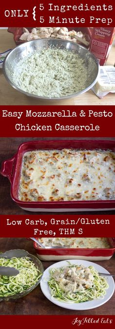 Pesto Chicken Casserole - Low Carb, Grain Free, THM S, Gluten Free - This Easy Mozzarella amp; Pesto Chicken Casserole has only 5 ingredients and mixes up in 5 minutes. via Joy Filled Eats - Gluten Sugar Free Recipes Casserole Taco, Casserole Spaghetti, Casserole Ideas, Low Calorie Casserole, Cheap Casserole Recipes, Gluten Free Casserole, Low Carb Chicken Casserole, Cauliflower Casserole, Keto Foods