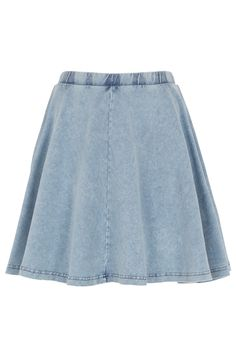 Lightwash denim skater skirt.