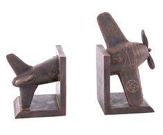 Set de 2 sujetalibros de resina Avión