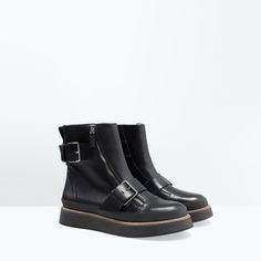 Image 2 of FLAT ZIP LEATHER BOOTIES from Zara