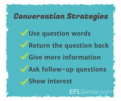 Get your students speaking English by teaching simple conversation strategies! http://www.eflsensei.com/?category=18