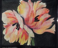 Blooming Beauties: Artistic flower quilts - Luella achieved these spectacular results through the use of fabric painting, with appliqued accents. The parallel machine quilting lines give an elegant, textured effect to this work which features soft, eye-catching warm hues.