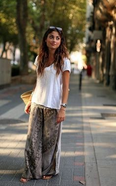 Loose white t-shirt, casual flowy printed pants. But I'm willing to bet it would look way more like PJ's on me.