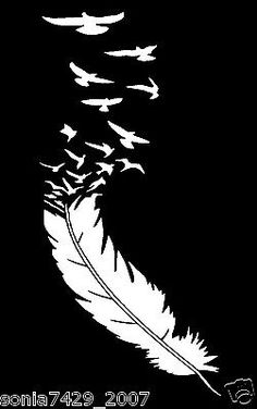 Feather-With-Birds-White-Vinyl-Aufkleber-Cute-Funny-Auto-LKW-Fenster Maren Klett Stencil Patterns, Stencil Art, Feather Stencil, Stenciling, Car Window Decals, Cute Car Decals, Funny Stickers, Wall Stickers, Scroll Saw Patterns