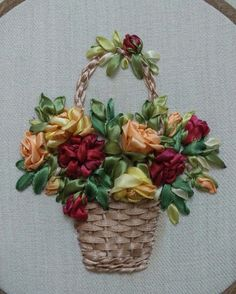 Wonderful Ribbon Embroidery Flowers by Hand Ideas. Enchanting Ribbon Embroidery Flowers by Hand Ideas. Ribbon Embroidery Tutorial, Embroidery Tools, Hand Embroidery Stitches, Silk Ribbon Embroidery, Embroidery Patterns, Embroidery Supplies, Machine Embroidery, Ribbon Art, Diy Ribbon