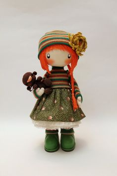 Awesome Etsy listing at https://www.etsy.com/pt/listing/199076237/doll-zooey-with-bear-brooch-cloth-doll