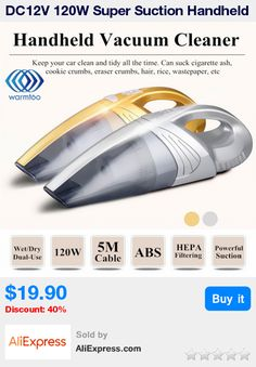 DC12V 120W Super Suction Handheld Vacuum Cleaner Silver Gold Portable Wet And Dry Dual Use For Vehicle Car Home Office * Pub Date: 17:19 Jul 5 2017