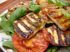 www.fancyCyprus.com grilled haloumi cheese salad