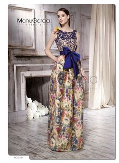 Bright colourful long skirt - with a blue top and belt