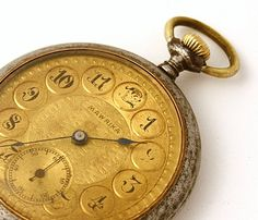 RARE Antique Pocket Watch Mawrika gold color pocket watch