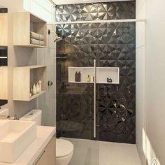 revestimento 3d; ideia de revestimento 3d; revestimento 3d no banheiro; banheiro com revestimento 3d;como usar revestimento 3d;revestimento 3d bonito;reves Black Tile Bathrooms, Modern Bathroom, Small Bathroom, Home Building Design, Home Room Design, House Design, Bathroom Feature Wall Tile, Bathroom Design Luxury, Bathroom Inspiration