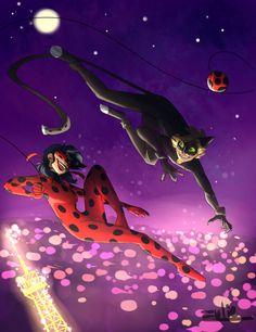 Miraculous Ladybug - Adrien Agreste x Marinette Dupain-Cheng - Ladynoir Ladybug Y Cat Noir, Ladybug Comics, Miraclous Ladybug, Lady Bug, Adrian And Marinette, Marinette And Adrien, Bugaboo, Cat Puns, Miraculous Wallpaper