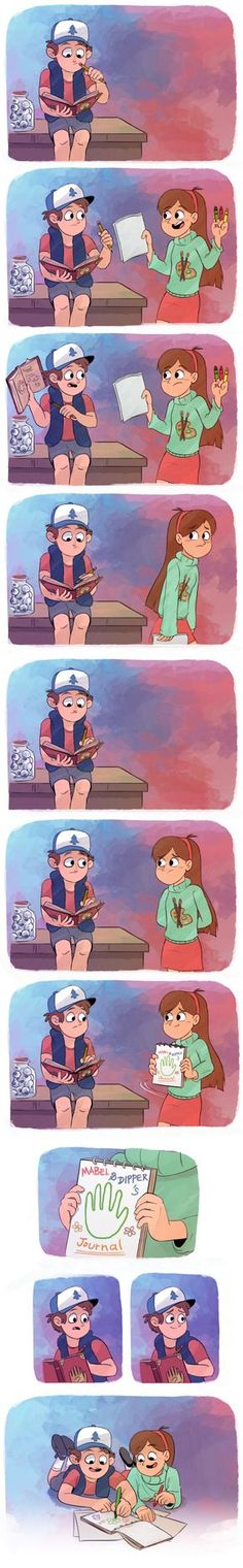 Gravity Falls, awww I love when the pines twins get to get together. Especially Dipper and Mabel. Disney Pixar, Disney Xd, Disney Memes, Disney And Dreamworks, Funny Disney, Gravity Falls Anime, Gravity Falls Fan Art, Gravity Falls Comics, Gravity Falls Dipper