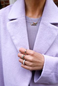 Atlantic-Pacific Rings: Lulu Frost, shop here, here and here. Necklaces: Lulu Frost, shop here and here. Pastel Purple, Purple Rain, Shades Of Purple, Pastel Style, Purple Hibiscus, Periwinkle, Light Purple, Pink, Lila Outfits