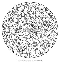 Outline round flower pattern in mehndi style for coloring book page. Mandala Book, Flower Mandala, Mandala Art, Drawings To Trace, Outline Drawings, Flower Art Drawing, Mandala Drawing, Detailed Coloring Pages, Coloring Book Pages