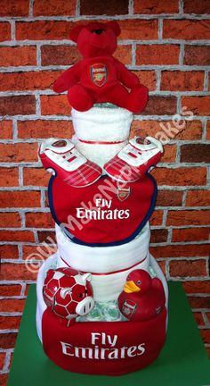 Arsenal FC 4 Tier Football Nappy Cake Baby Gift