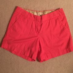 """J.Crew Factory shorts J.Crew Factory shorts 3"""" classic chino in coral. Gently worn with no flaws. J.Crew Factory Shorts"""