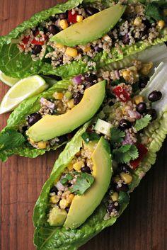 fiesta quinoa lettuce boats