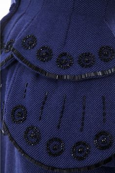 The embroidery on a Carven haute couture two piece suit, circa 1955.