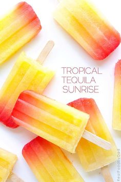 Tropical Tequila Sunrise Popsicles from Real Food by Dad INGREDIENTS 2 cups pineapple juice 1 lb, fresh pineapple, peeled and pureed cup tequila cup grenadine Alcoholic Popsicles, Fruit Popsicles, Homemade Popsicles, Avocado Popsicles, Frozen Desserts, Frozen Treats, Frozen Cocktail, Tequila Recipe, Mantecaditos