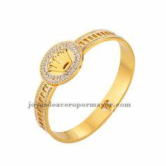 pulsera con cristal dorada de acero venta al por mayor de China