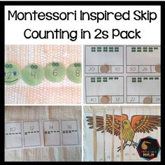 Skip Counting in 2 (Math resource) - montessorikiwi Montessori Math, Montessori Elementary, Elementary Math, Math Stations, Math Centers, Bar Card, Math Task Cards, Skip Counting