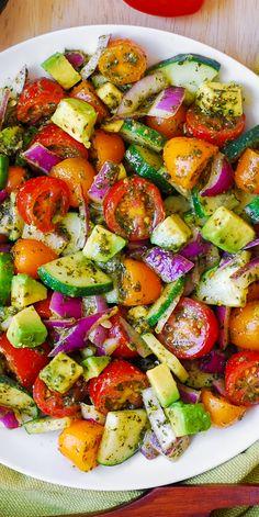 Tomato Cucumber Avocado Salad with Basil Pesto #healthy #avocado