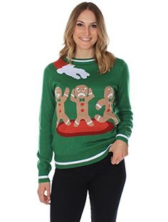 Women's Ugly Christmas Sweater - the Gingerbread Nightmare Funny Sweater Green Size M