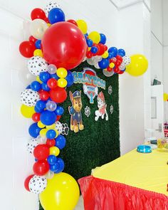 Paw Patrol / Paw Patrol Party / Puppy Party / Red Blue and Yellow / Balloons / Balloon Garland / Paw Prints / Party Decor Paw Patrol Birthday Decorations, Paw Patrol Birthday Theme, Simple Birthday Decorations, Paw Patrol Centerpieces, 1st Birthday Party Invitations, 6th Birthday Parties, 1st Boy Birthday, Paw Patrol Balloons, Backdrops For Parties