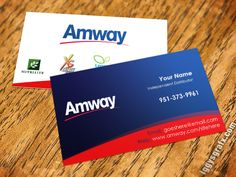 Blue and Red Amway Business Cards