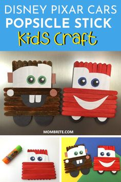Craft Stick Projects, Popsicle Stick Crafts For Kids, Craft Sticks, Craft Stick Crafts, Preschool Crafts, Summer Camp Crafts, Camping Crafts, Disney Up, Disney Pixar Cars