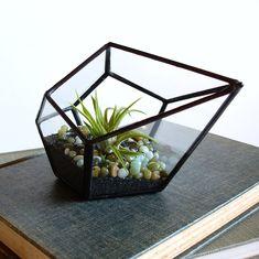 Geometric Terrarium Pod, Air Plant Glass Terrarium, Stained Glass Planter. $35.00, via Etsy.