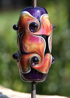 Curlicue Sunsets Handmade Lampworked Glass Bead OOAK by ninaeagle, $24.99