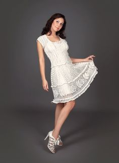 Milky white exclusive crochet dress