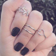 Conjunto de anéis de falange prata