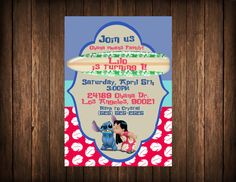 Hey, I found this really awesome Etsy listing at https://www.etsy.com/listing/180026433/lilo-and-stitch-birthday-invitation
