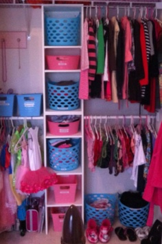 Organizing child's closet using $1 bins from dollar store...spent $12 on this closet redo.